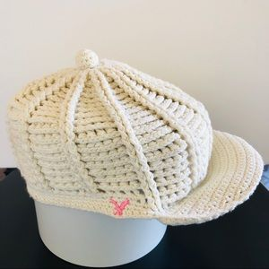 American Eagle Outfitters crochet cream slouch hat